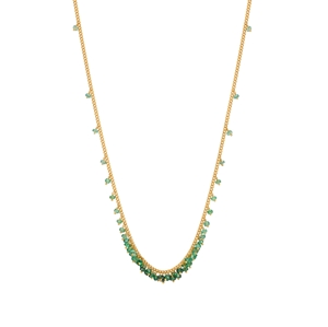Emerald scattered row necklace