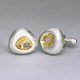 Silver Rock Cufflinks with Gold Plate