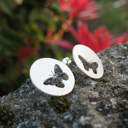 Round Butterfly Studs