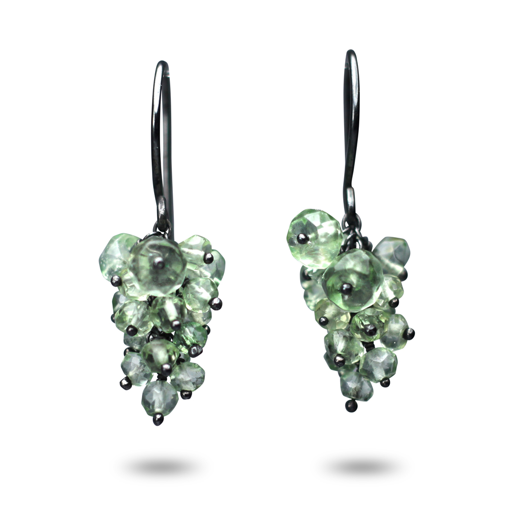 Kate Wood Jewellery Green Amethyst Encrusted Tassel Earrings U871pkUCQh