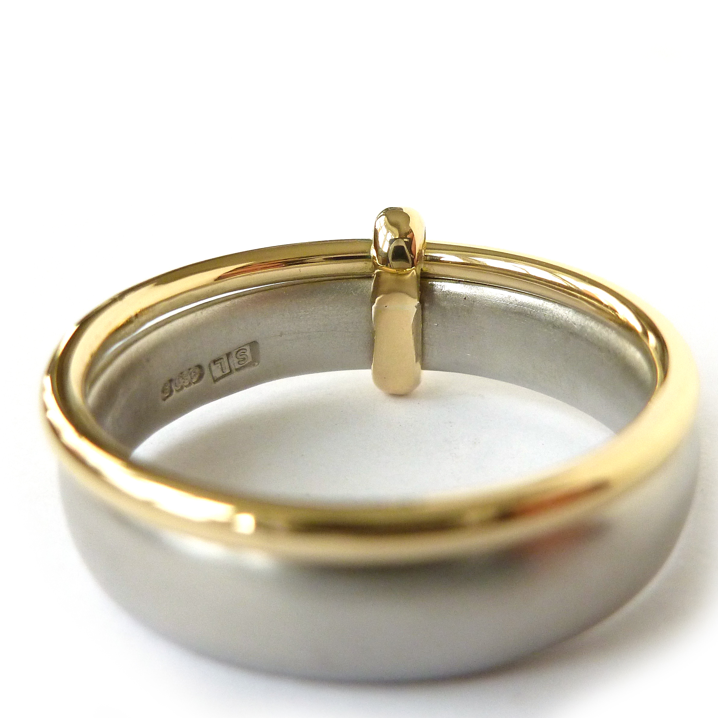 Contemporary Palladium And Gold Wedding Ring For Men Or Women