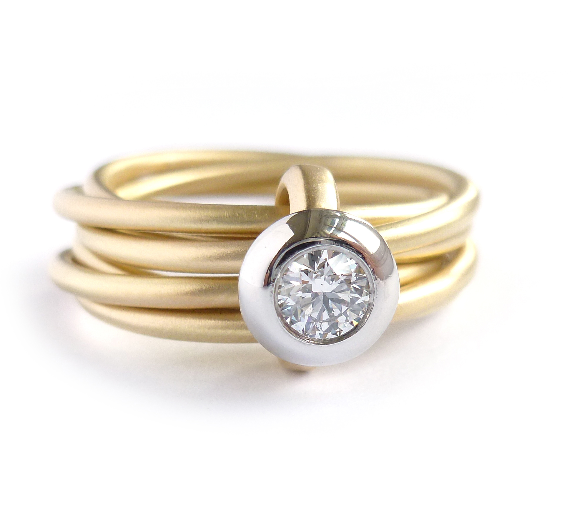 Two Tone White And Yellow Gold Engagement Rings
