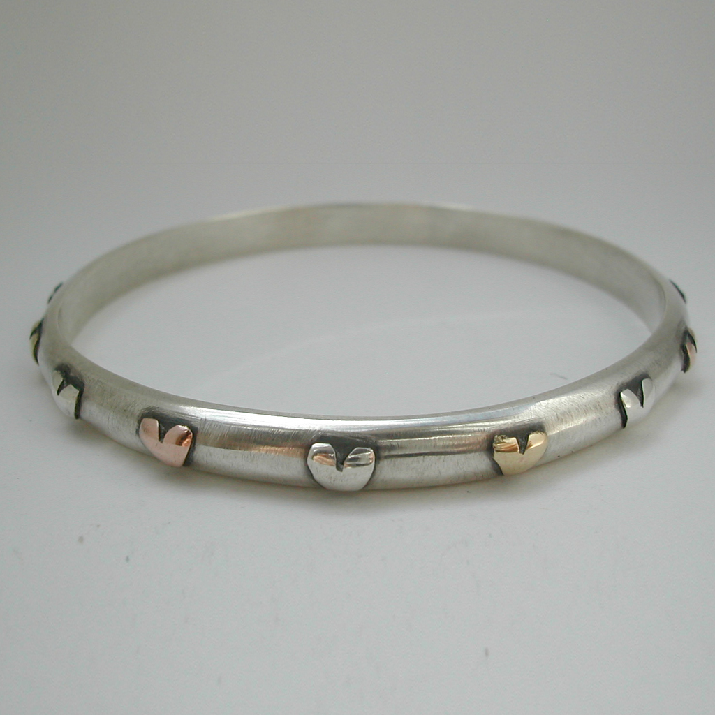 Bangle With Silver Br And 9ct Rose Gold Hearts