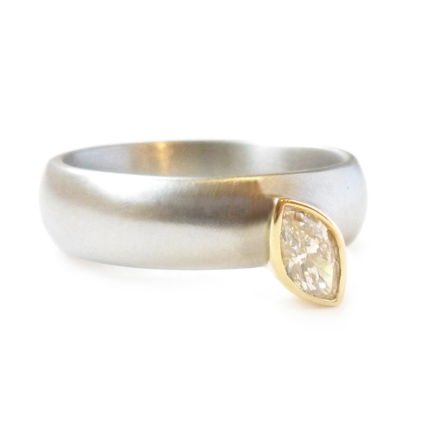 2c7cfc15a Palladium, gold and marquise diamond ring   Contemporary Rings by ...