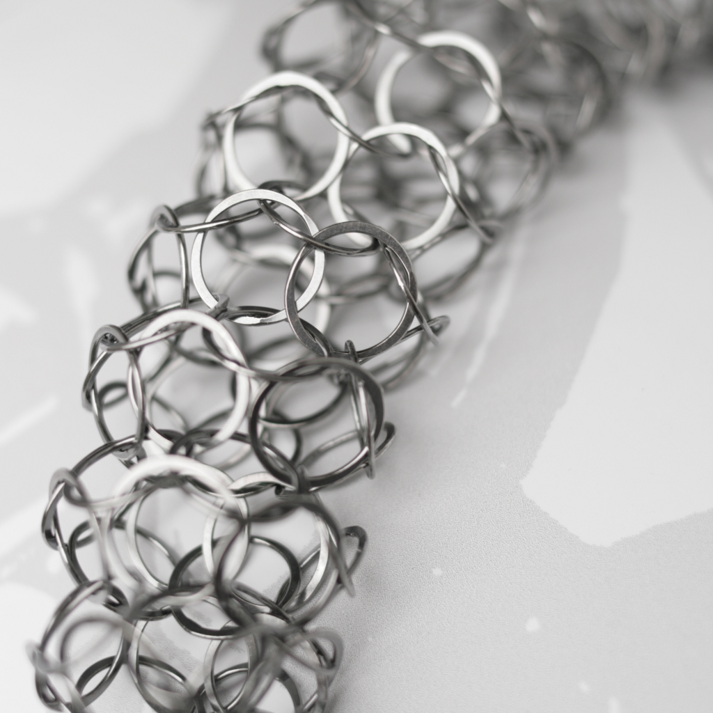 Oxidised Silver Short Chain Tube Necklace Contemporary