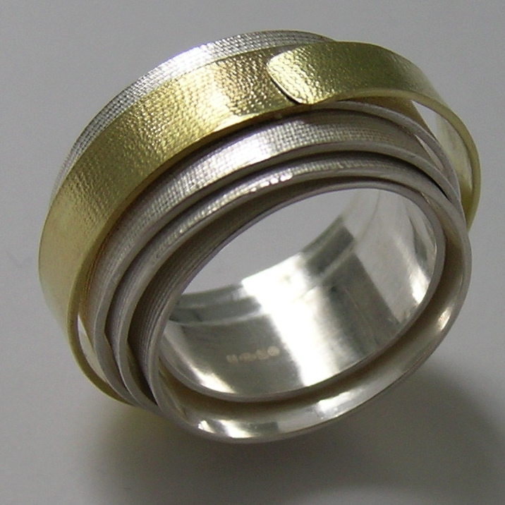 silver and gold coil ring contemporary rings by