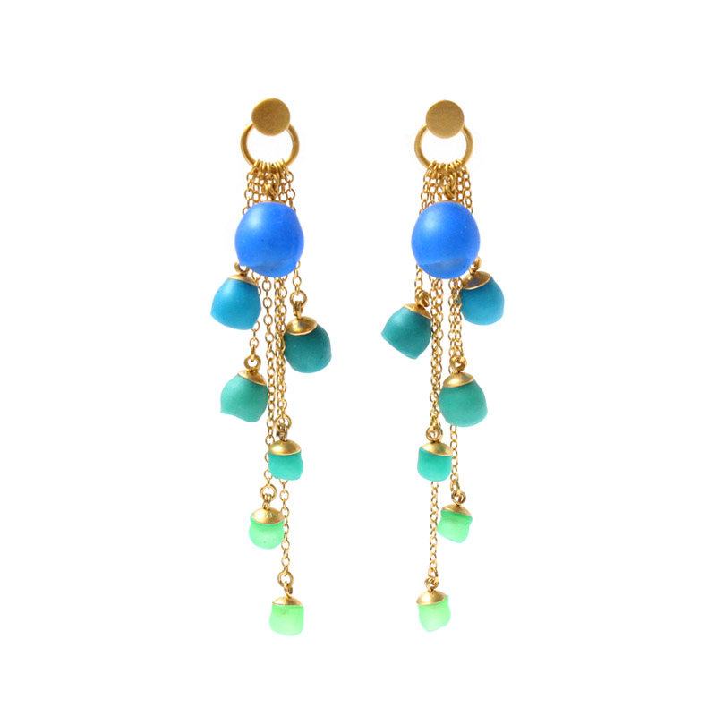 Gold plated cascade earrings blue green contemporary for Does gold plated jewelry fade