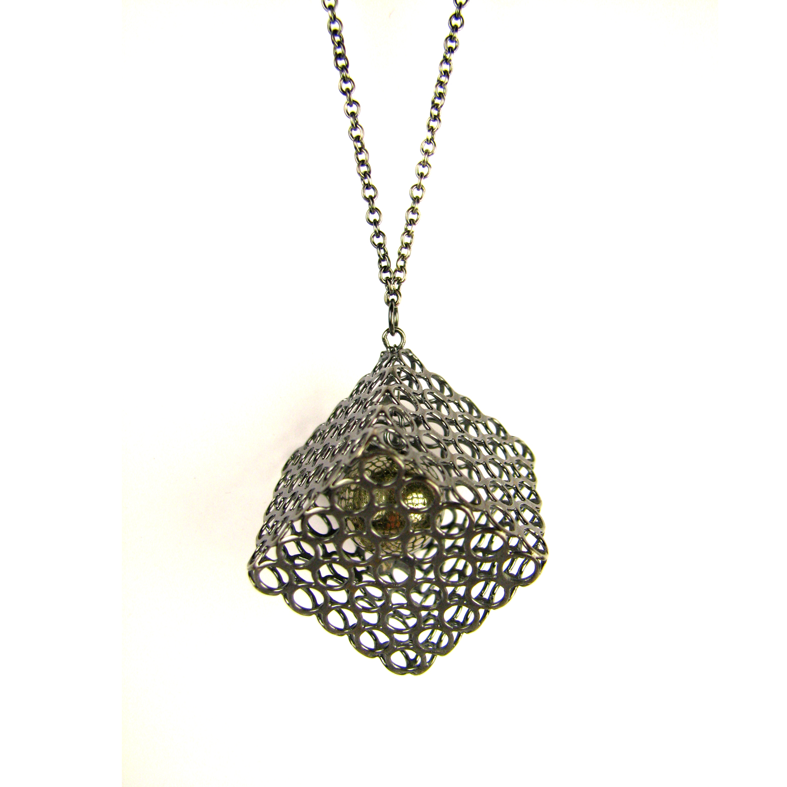 Long Cube Necklace, Captured Pyrite | Contemporary ...