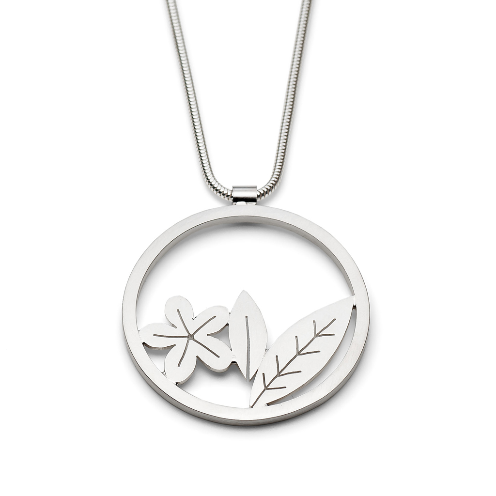 Round Silver Leaf And Flower Pendant Contemporary