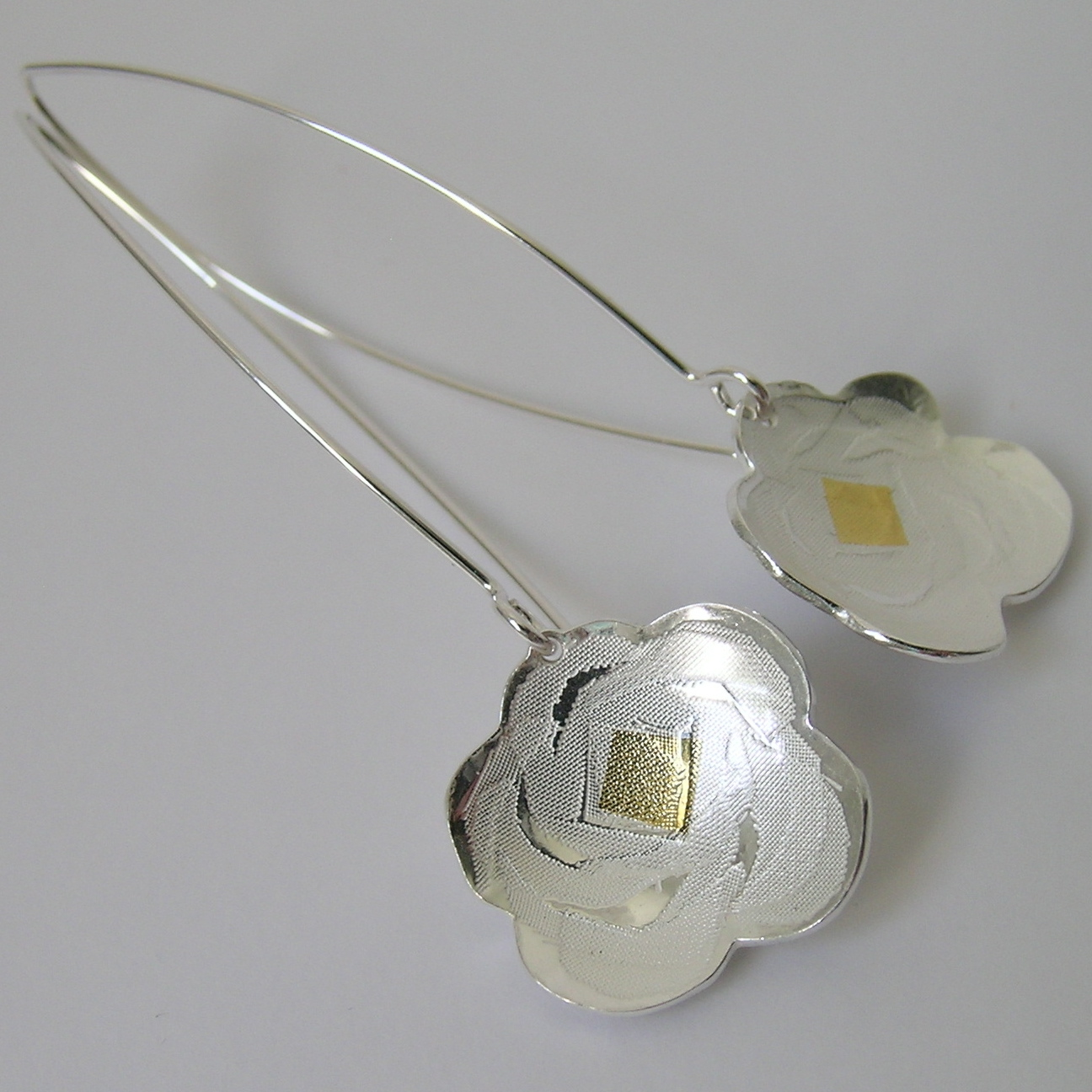 Full Bloom long wire drop earrings-clean | Contemporary Earrings by ...