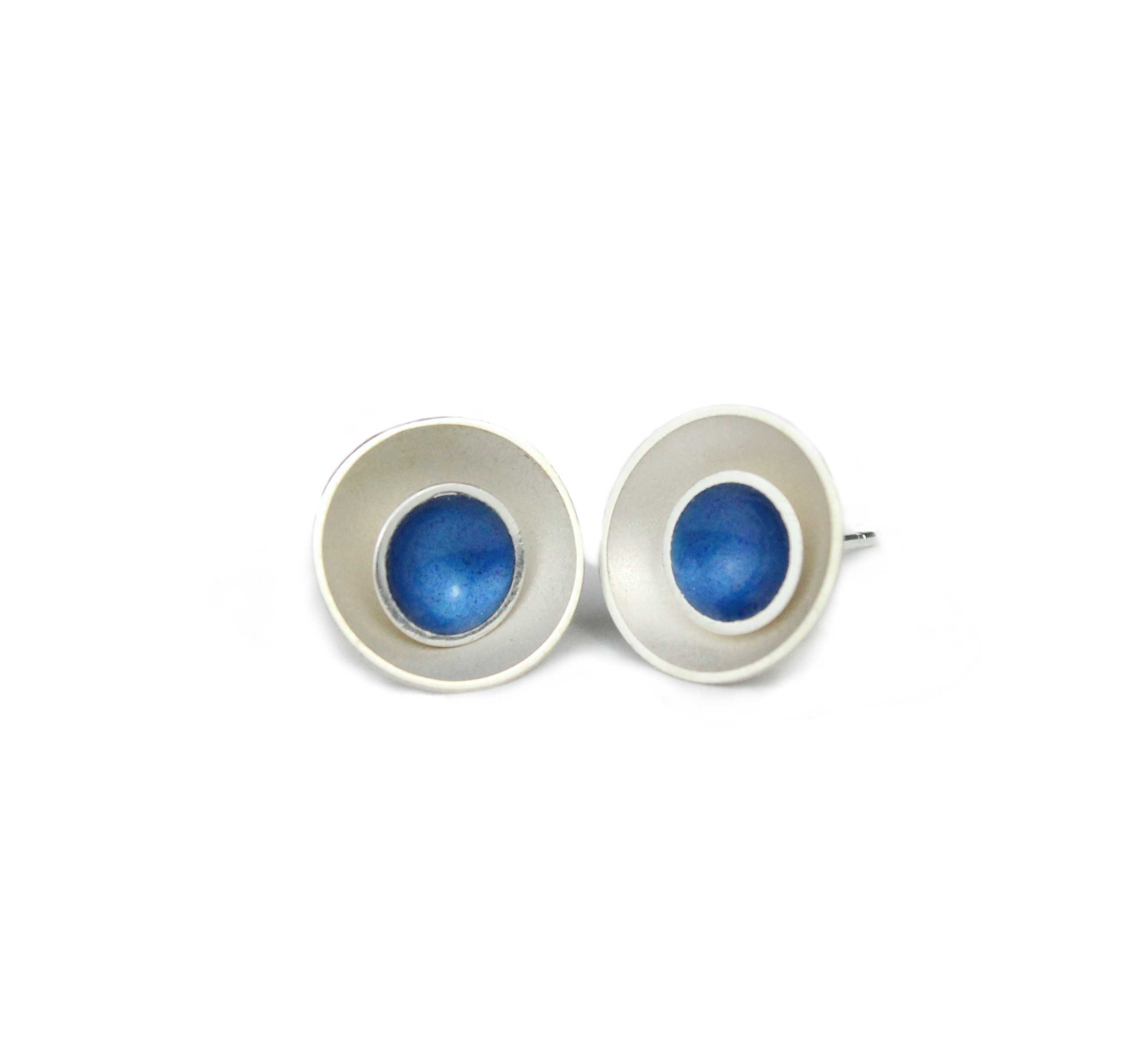072f3c9e1 Large Target Silver Stud Earrings Kingfisher Blue | Contemporary ...