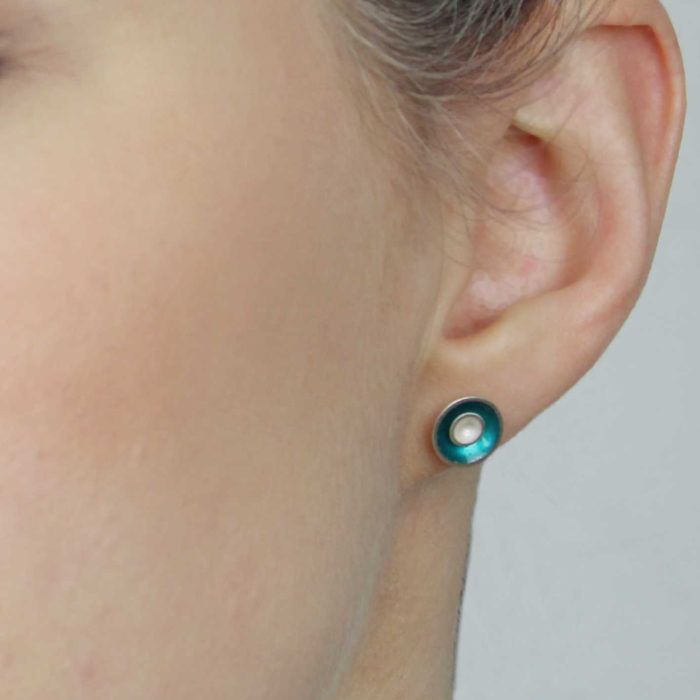 03b1867f5 Small Target Silver Stud Earrings - Teal | Contemporary Earrings by ...