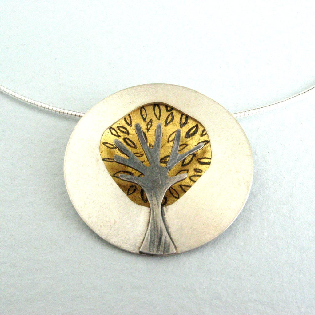 Gold dome tree pendant with leaves contemporary necklaces gold dome tree pendant with leaves aloadofball Gallery