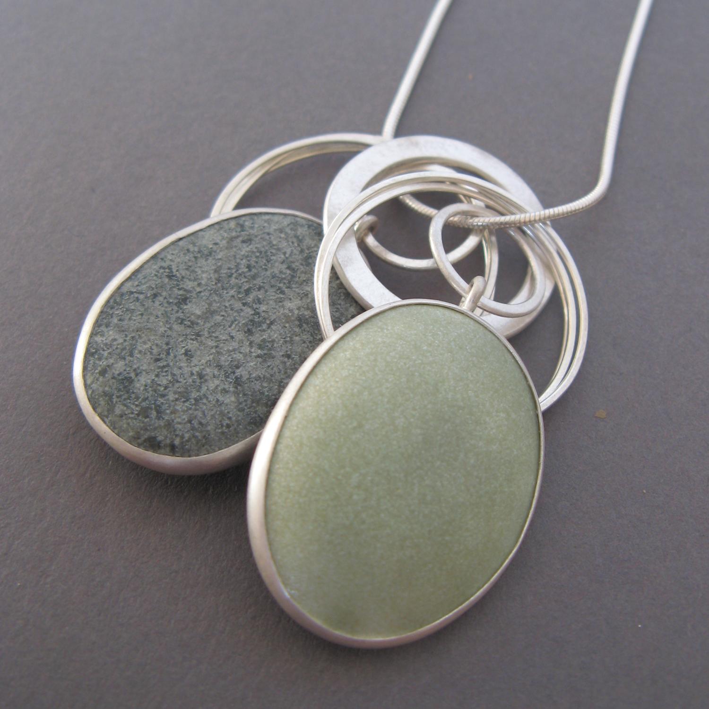 Grey enamel pebble pendant | Contemporary Necklaces / Pendants by ...