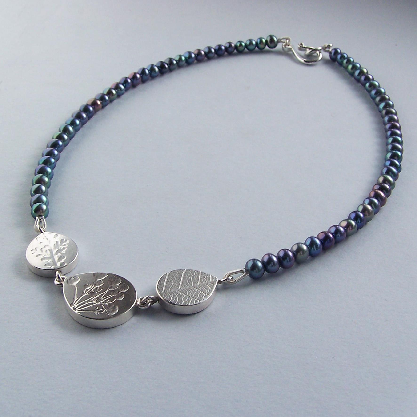 Grey pearl teardrop bead necklace | Contemporary Necklaces ...