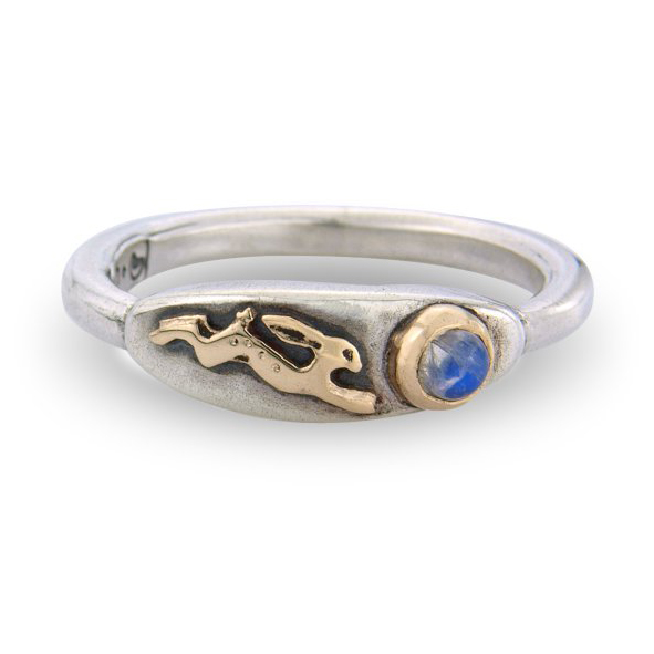 Hare and Moonstone, ring | Contemporary Rings by ...