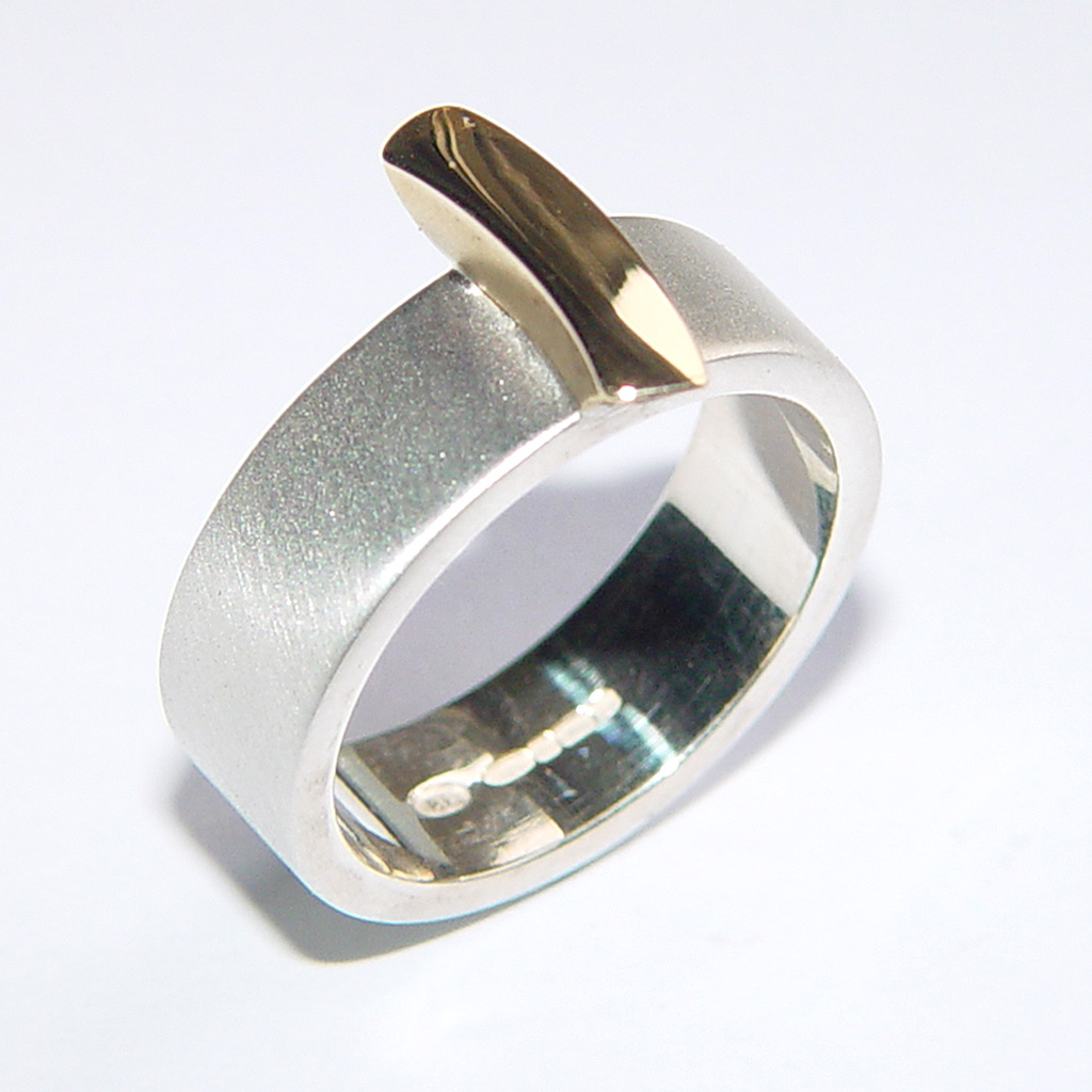 silver band with18ct gold detail contemporary rings by