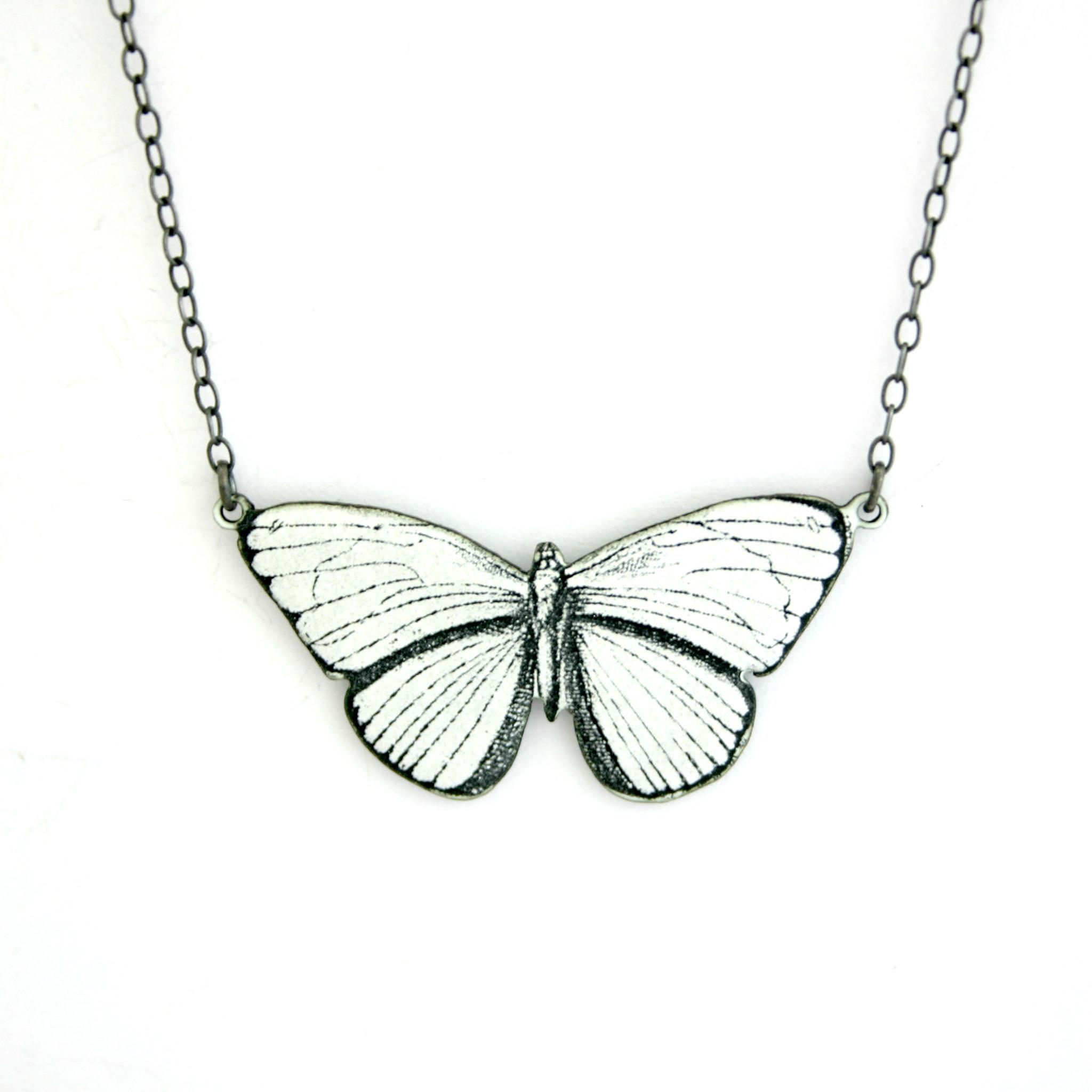 Antique Enamel Necklace White Black Contemporary