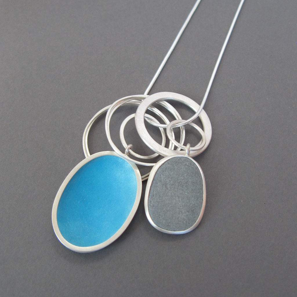 Enamel Pebble Pendant Contemporary Necklaces Pendants