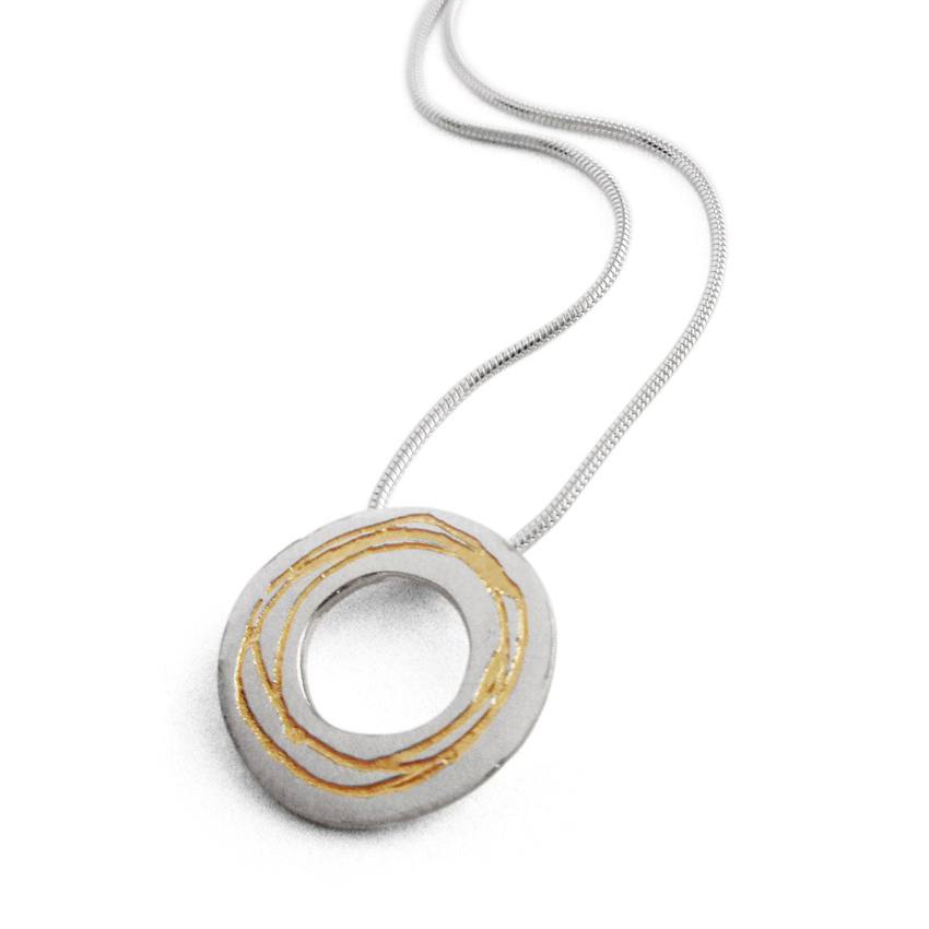 Spiral etched silver pendant with gold plate contemporary etched washer pendant aloadofball Images