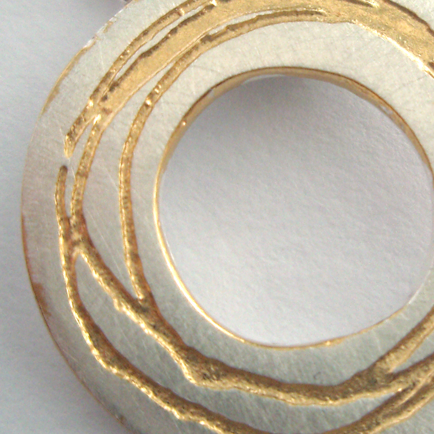 Spiral Etched Silver Pendant With Gold Plate