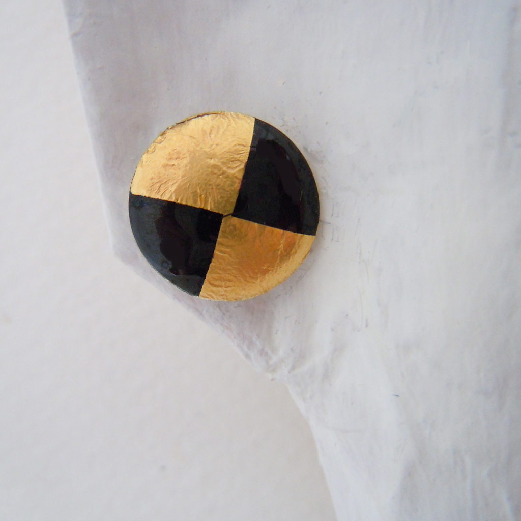Small Round Earrings Black Gold Foil Contemporary