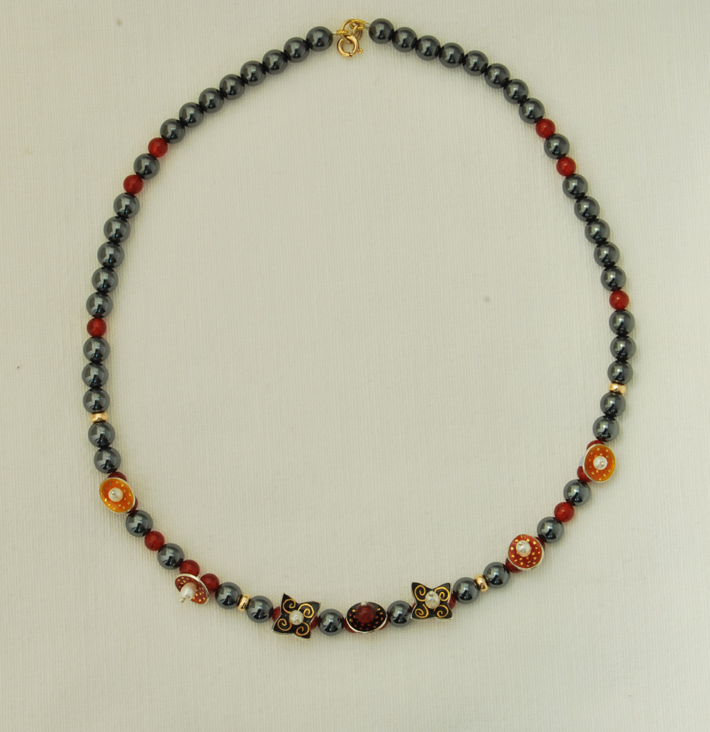Necklace Hematite And Cornelian Beads 7 Enamelled Drops Contemporary Necklaces