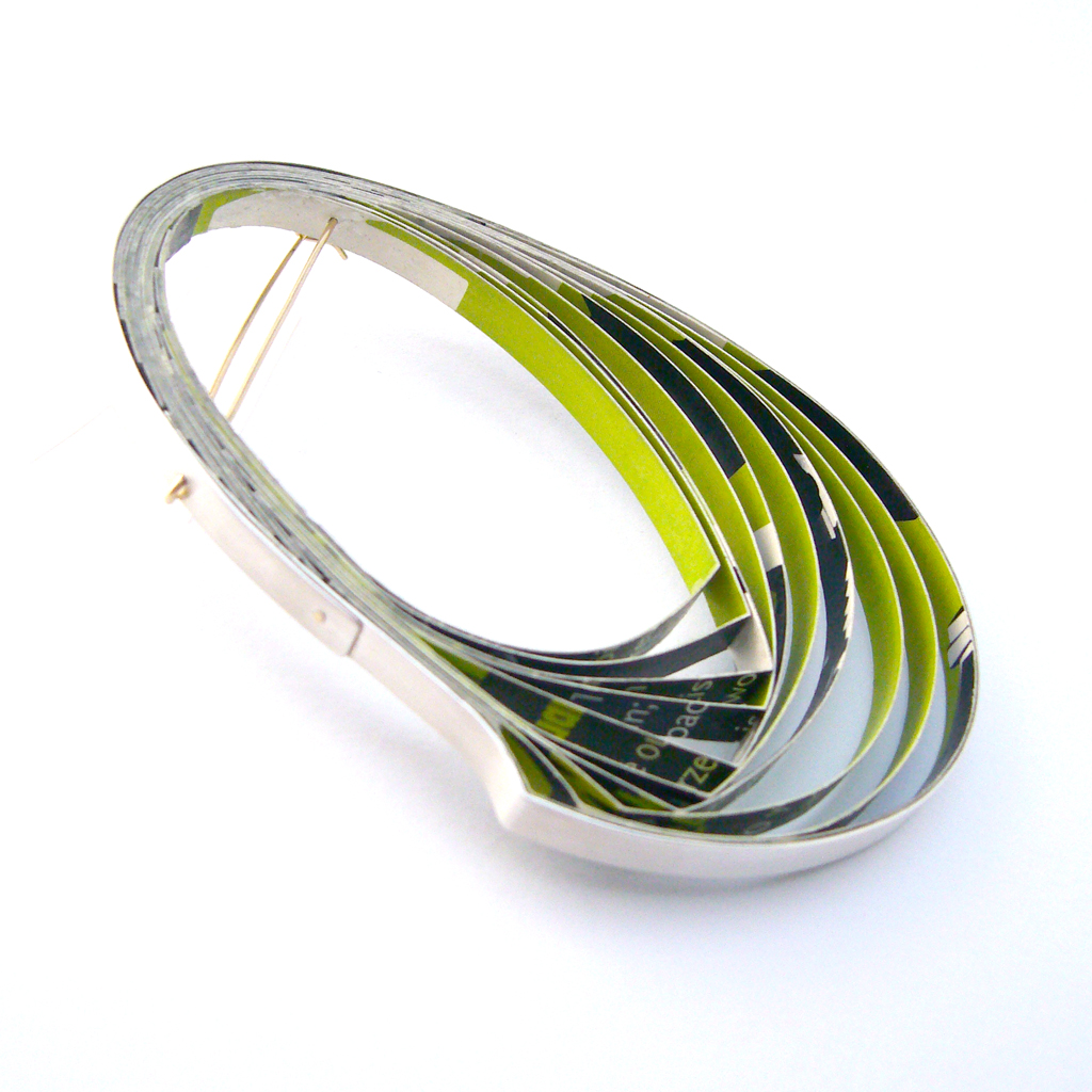 Lime green Paper and silver brooch