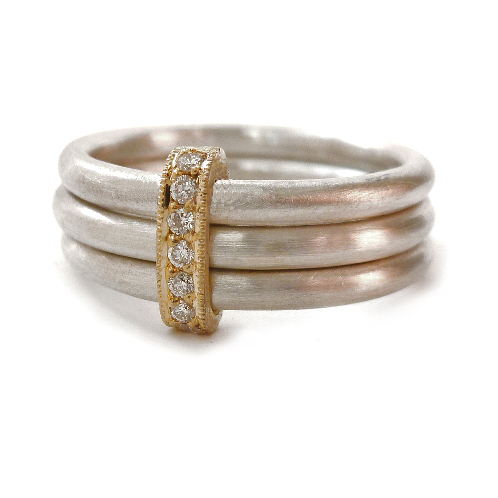 af9720443 Silver, 18ck gold and Diamond ring   Contemporary Rings by ...