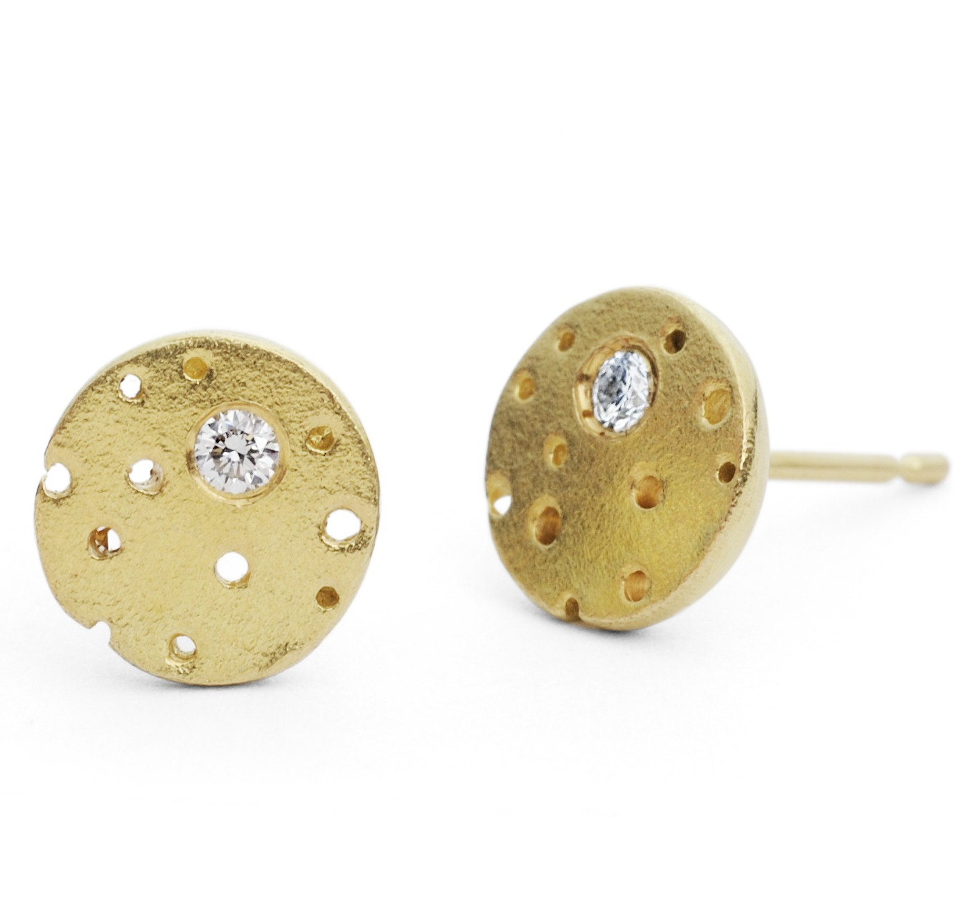 18ct Gold And Diamond Earrings Contemporary By