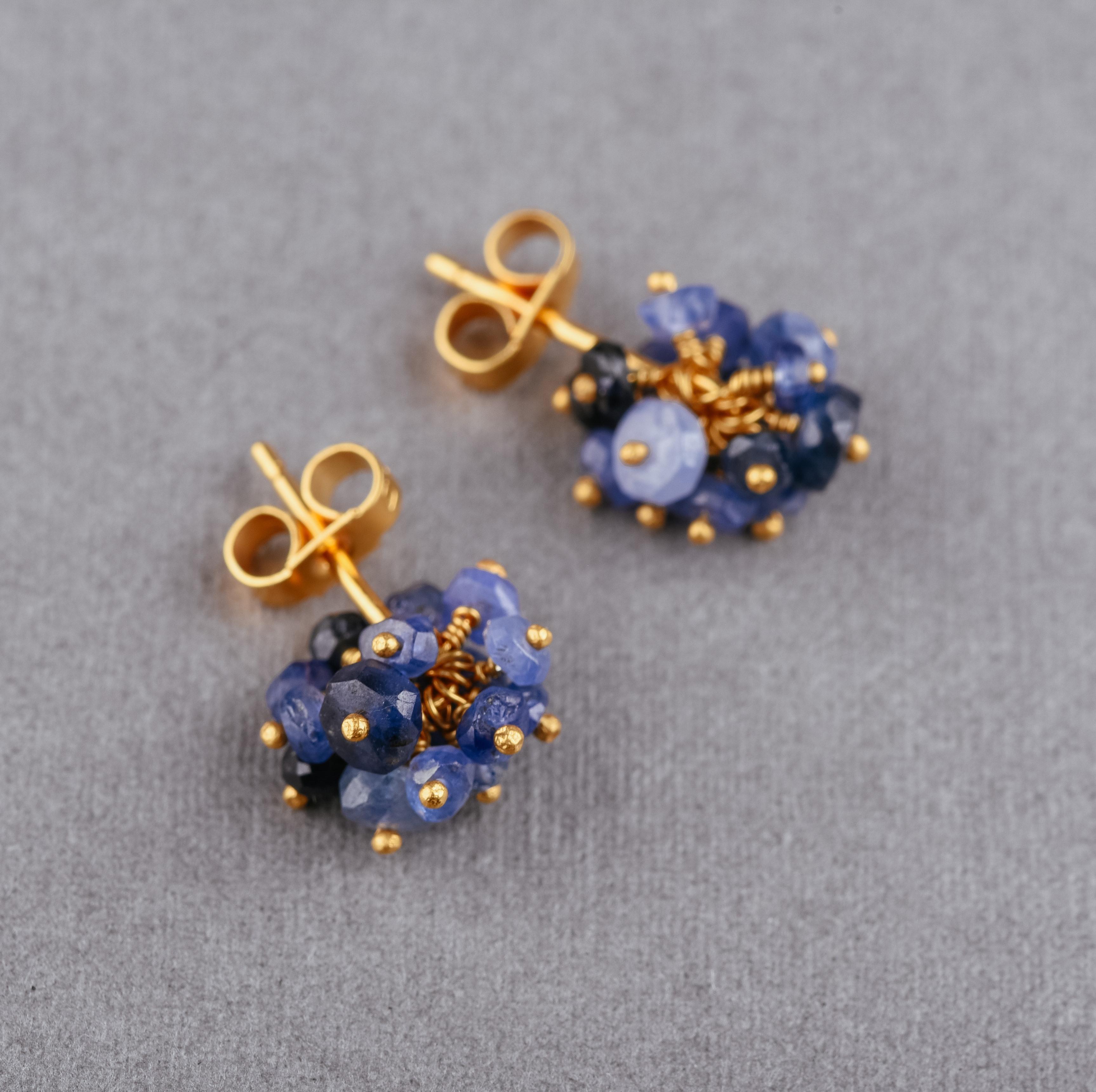 3e9398548 Sapphire and Gold Vermeil Pompom Stud Earrings. display image. Sapphire  Vermeil Pompom Studs