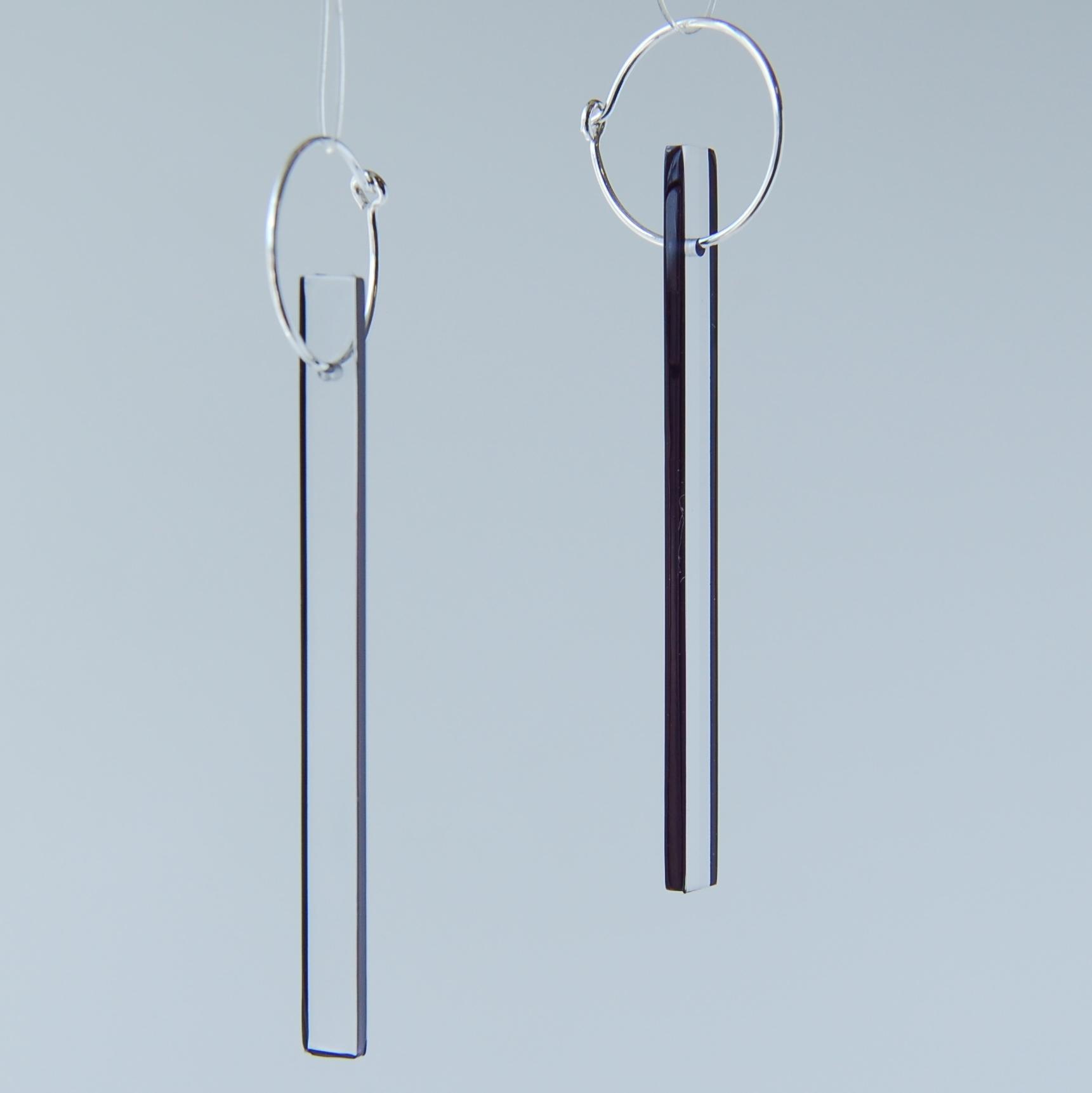 rectangle hoop earrings black contemporary earrings by