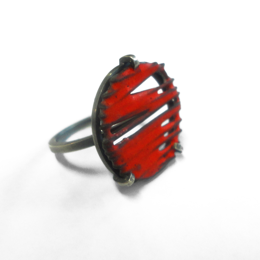Red Enamel Ring Contemporary Rings By Contemporary Jewellery Designer Stacey Bentley