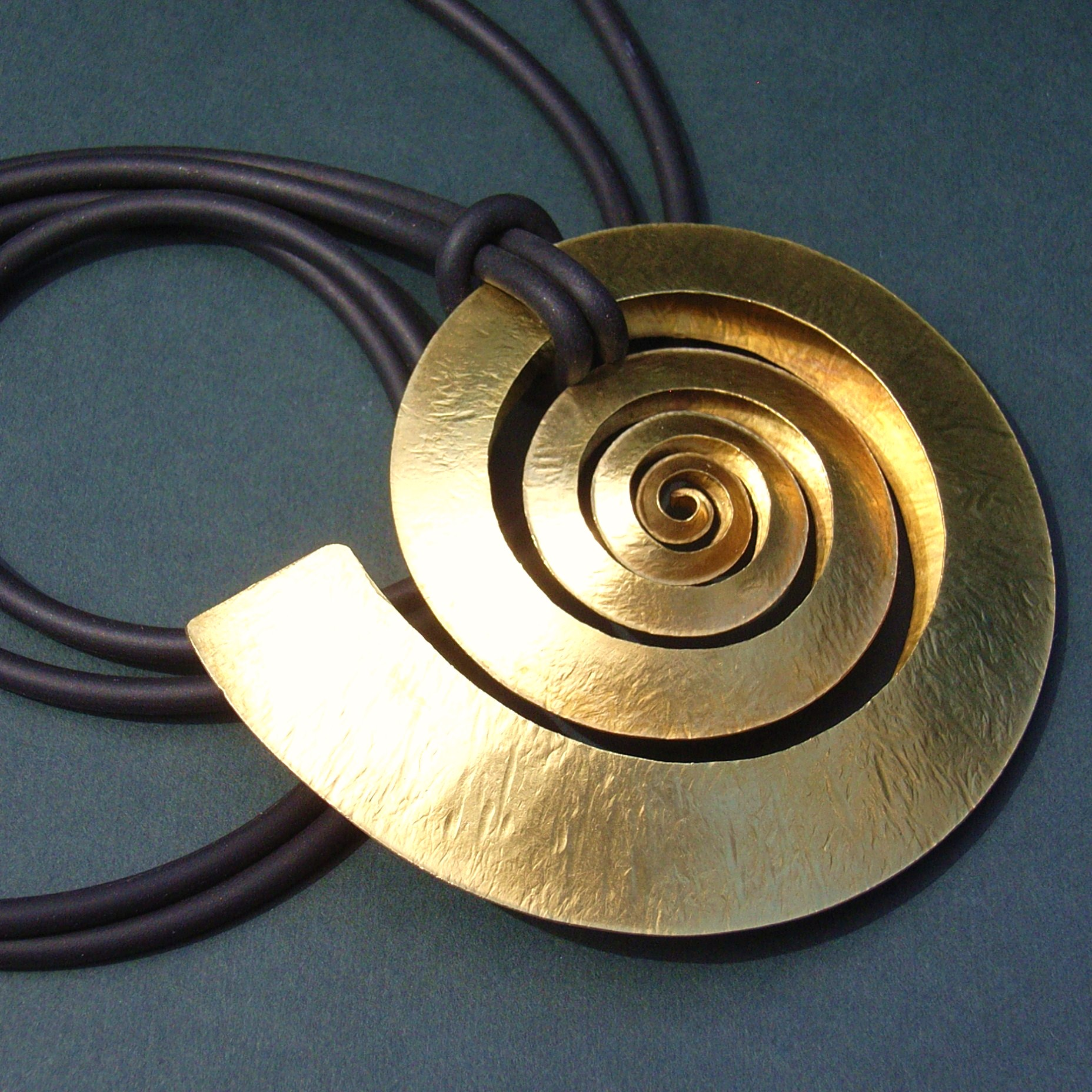 Large brass spiral pendant contemporary necklaces pendants by large brass swirl pendant mozeypictures Image collections