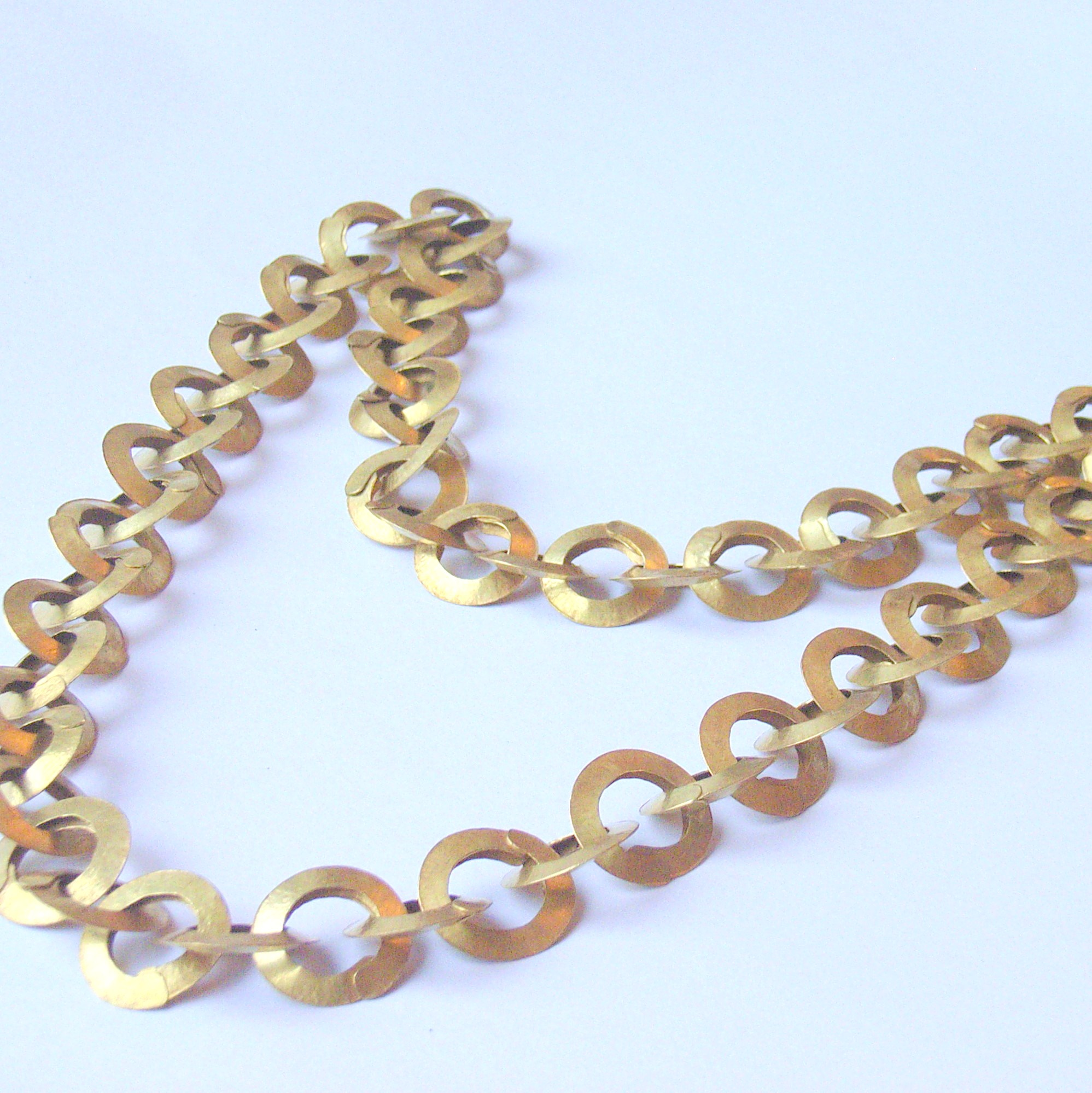Forged Link Chains : Forged small link brass chain contemporary necklaces