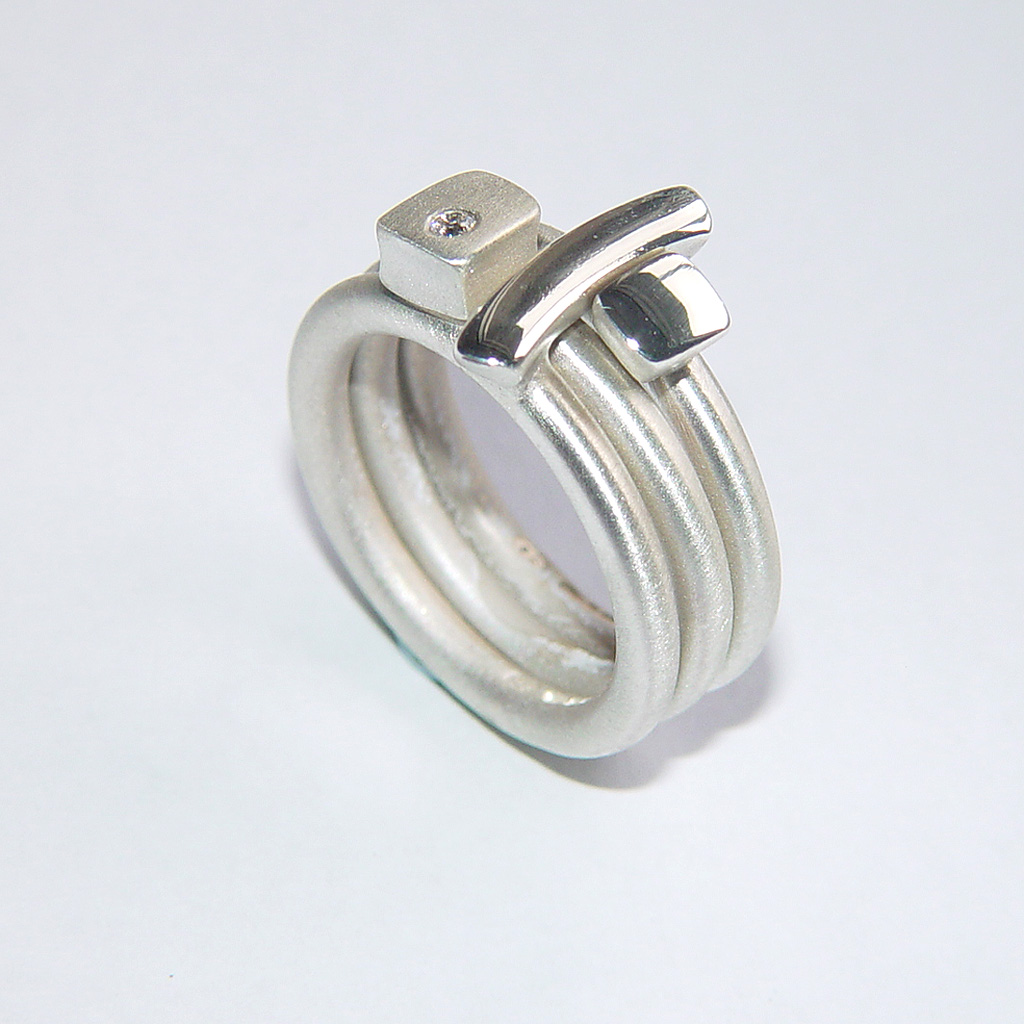 silver ring set with contemporary rings by