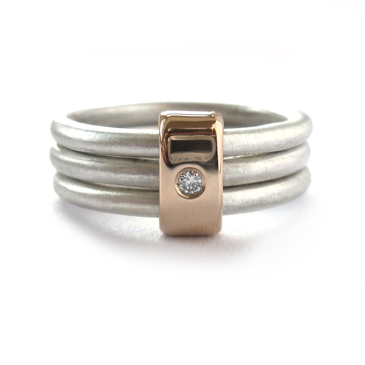 Silver rose gold and diamond ring Contemporary Rings by