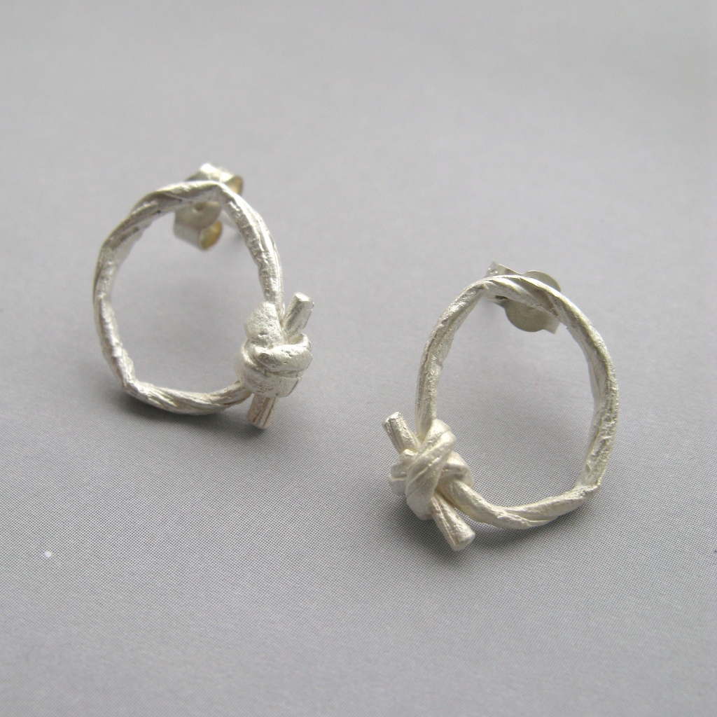 Small String Knot Earrings Contemporary Earrings By