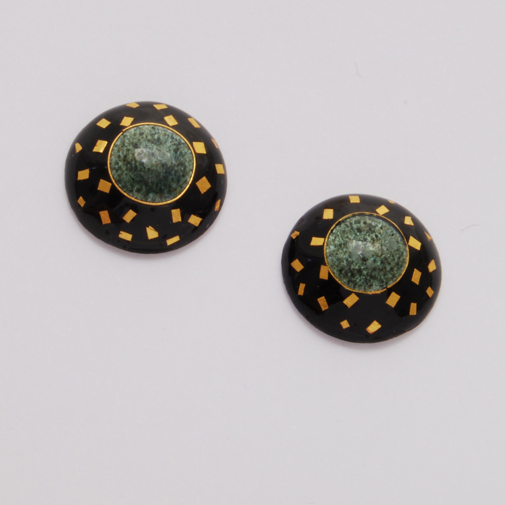 round drop earrings granite asp black small p