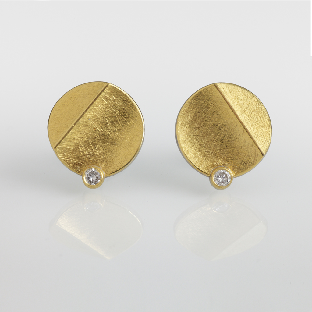 Sterling Silver And 24ct Gold Earrings With Round Diamonds
