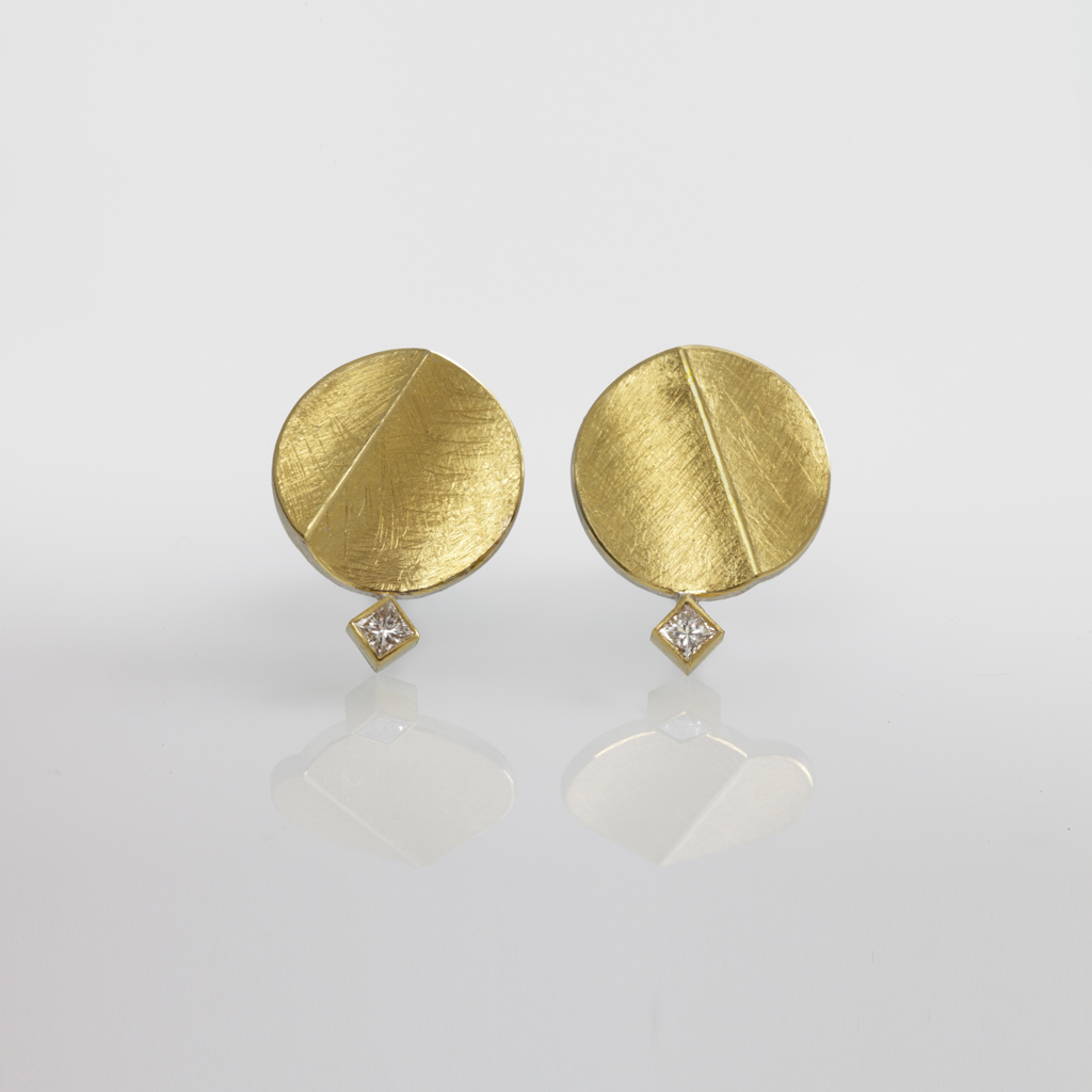 Sterling Silver And 24ct Gold Earrings With Square Diamonds