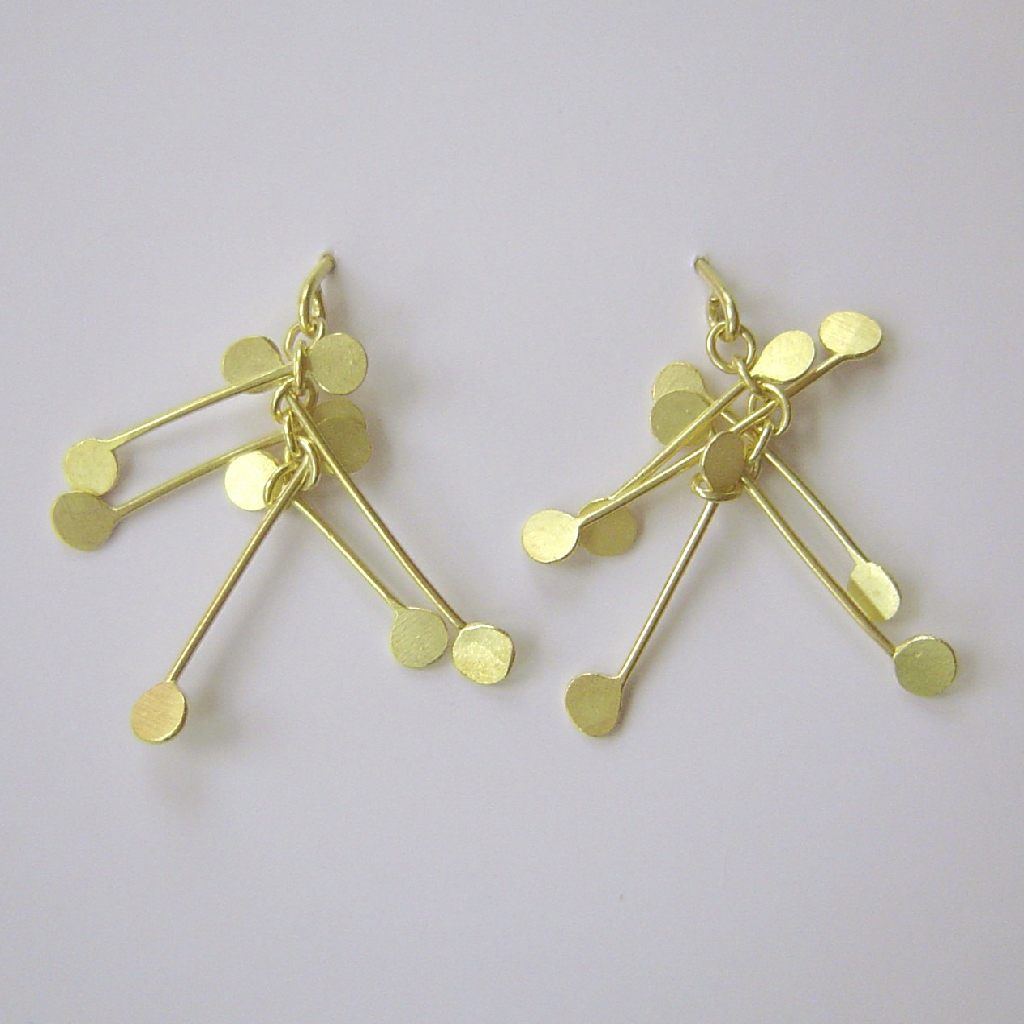 Chaos wire stud earrings, gold satin | Contemporary Earrings by ...