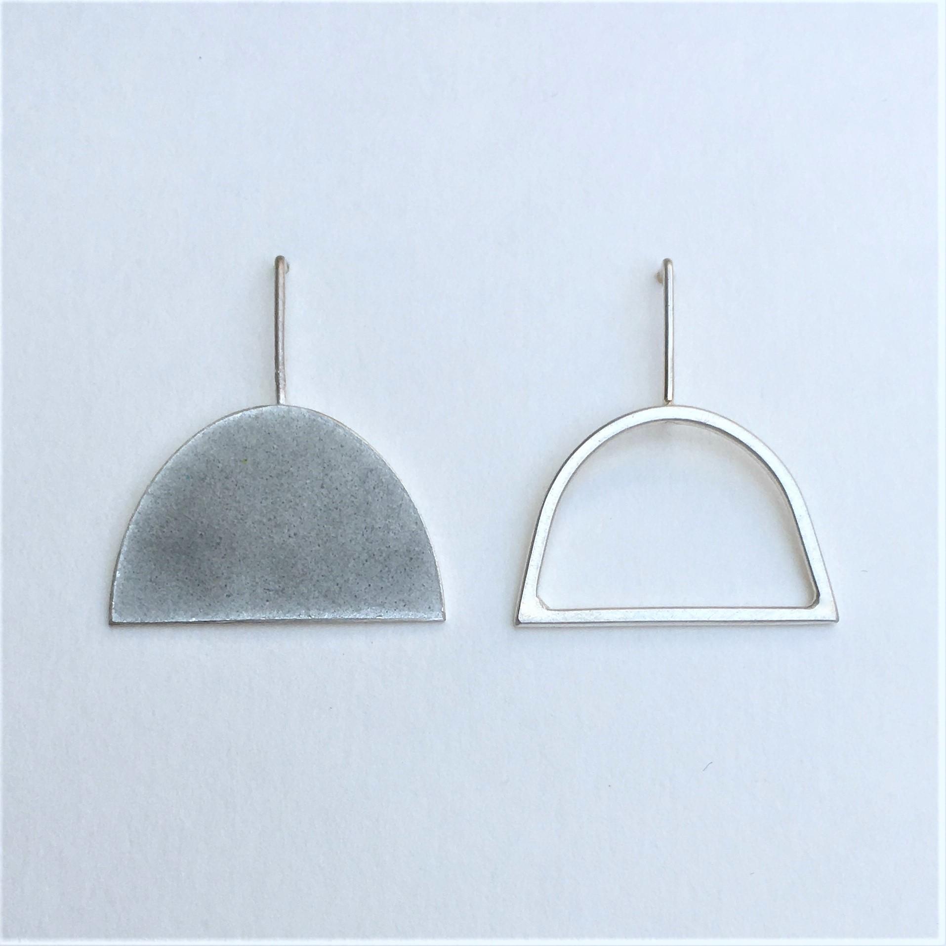 Enamel half oval stud + wire shape stud   Contemporary Earrings by ...