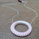 Big hoop pendant-nude with cerise stripes