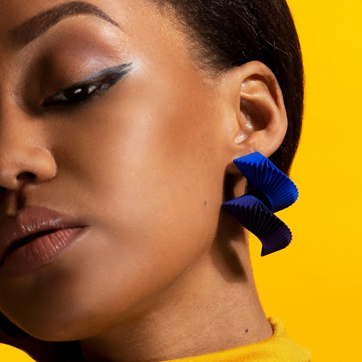 Helix Earrings Blue - worn