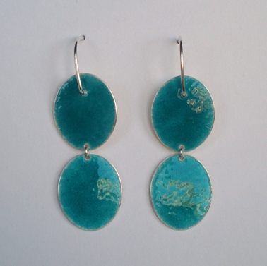 Two Sea green shiny ovals earrings