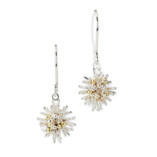 Sea Urchin drop earrings - silver and 18ct gold granulation - by Hannah Bedford