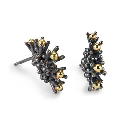 Sea Urchin Earrings - Linear oxidised silver and 18ct gold - by Hannah Bedford