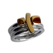 Silver Rings with 18ct Gold Detail