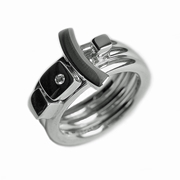 Silver Ring Set with Silver detail & Diamond